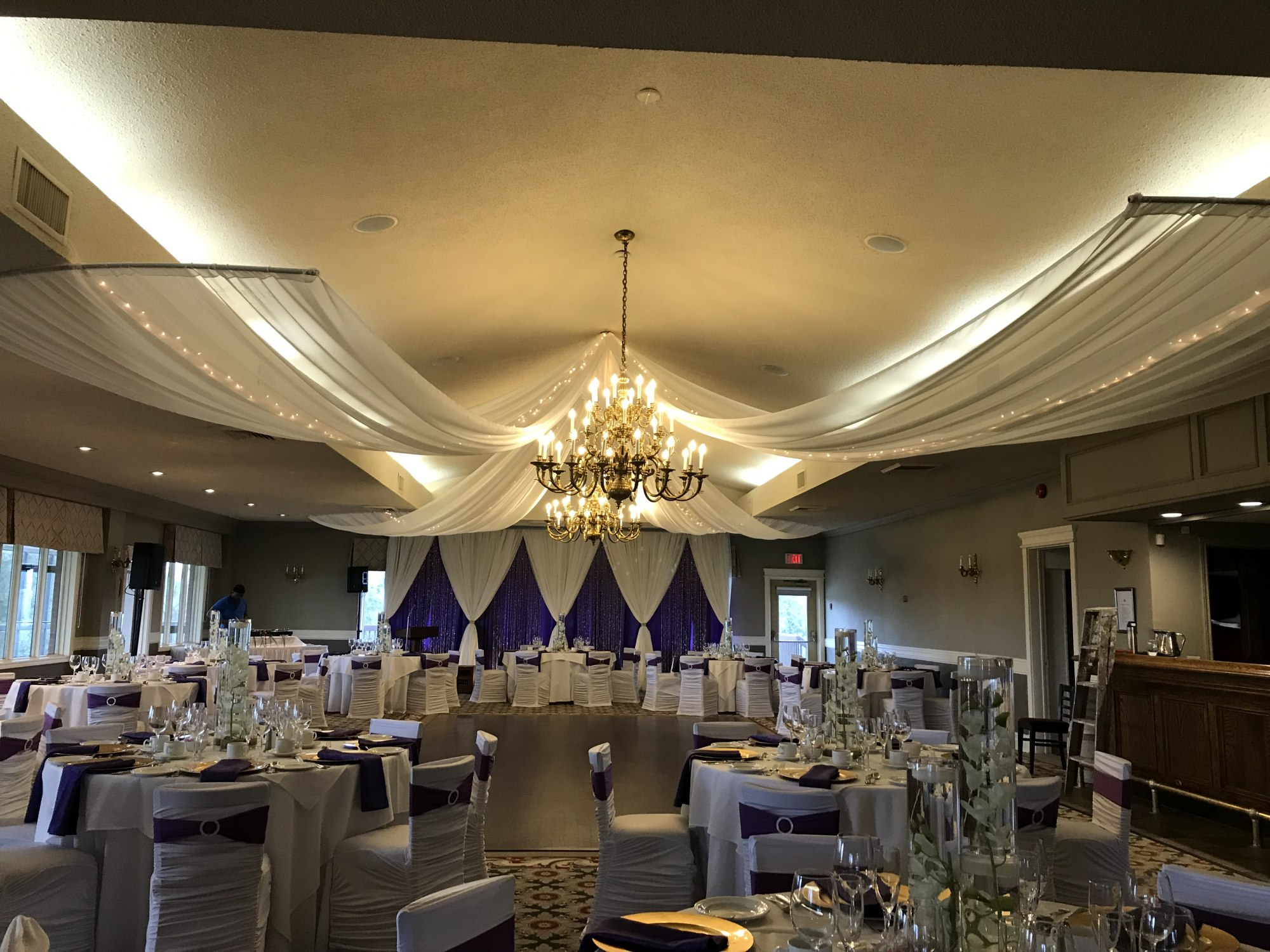 4 Sheer Ceiling Swags with Mini Lights