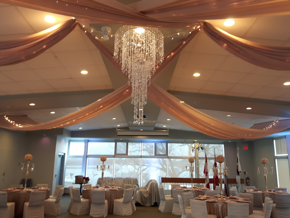 Blush Swags with Mini Lights & Crystal Chandelier, Whitby Yacht Club