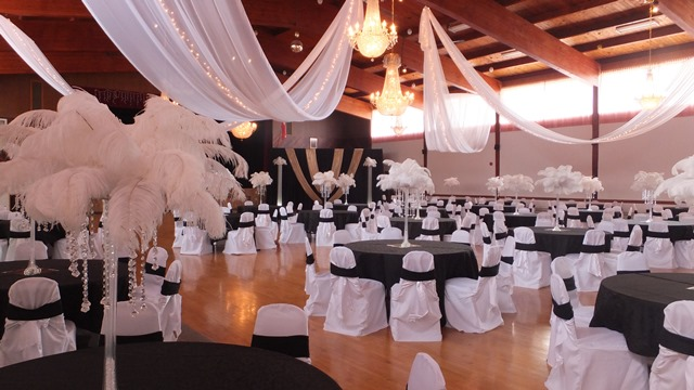 White Sheer Swags with Mini Lights, General Sikorski Hall