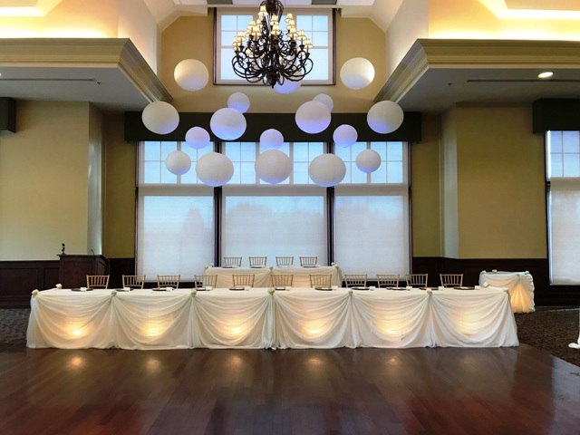 Paper Lanterns over Head Table, Audley Hall