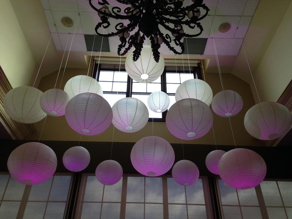 Paper Lanterns with Led Uplighting, Audley Hall Deer Creek