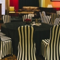 Rolling Stones Theme - Black & White Striped Chair Covers with Black Velour Linens