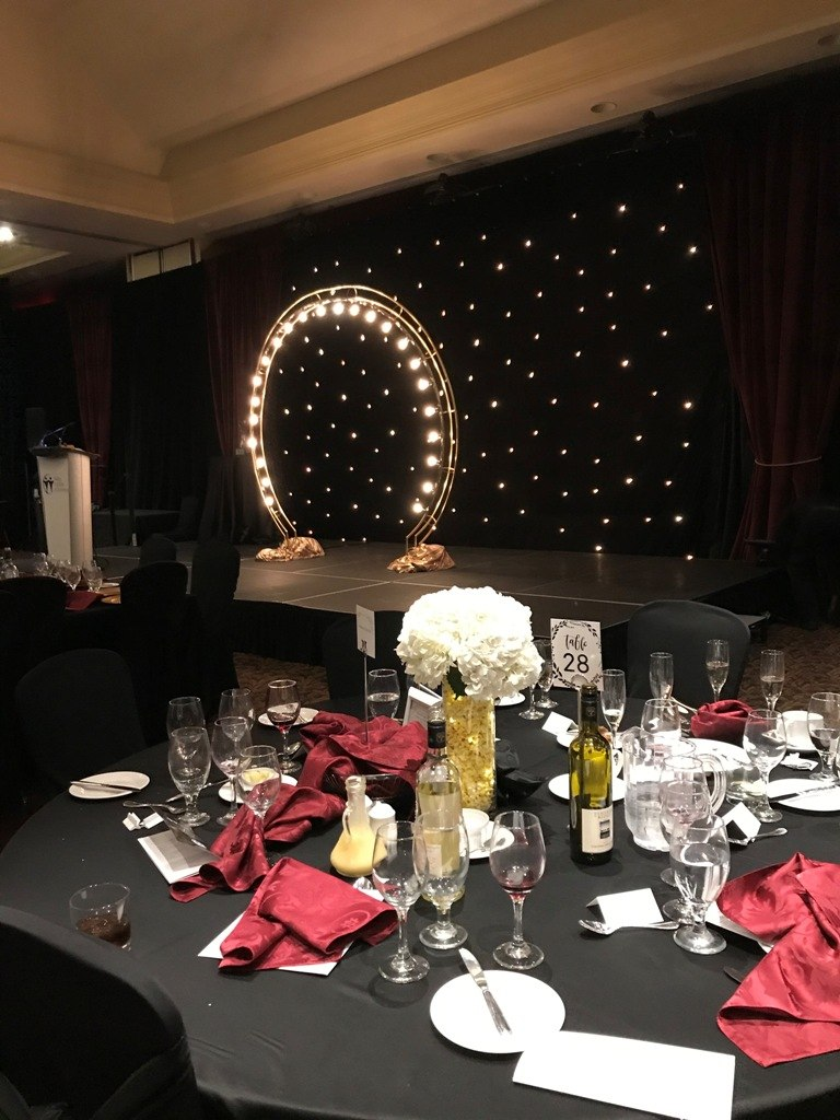 Lighted Hoop Archway for Stage Presentations