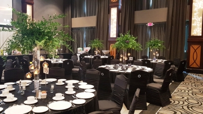 Gala Centerpieces with Hanging Votives * Branching Out Florals