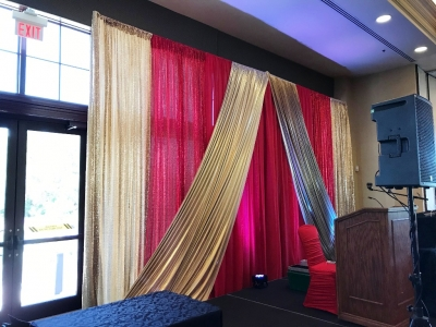 Custom Red Sequin and Gold Lame Backdrop