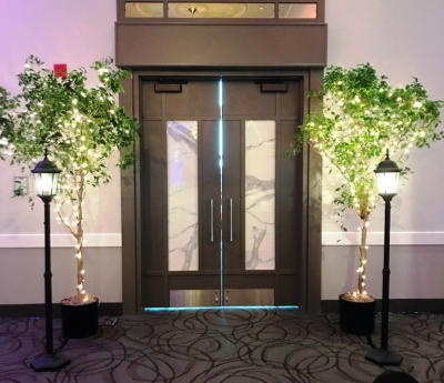 Entranceway - Trees with Lights & Street Lamps available for rent!