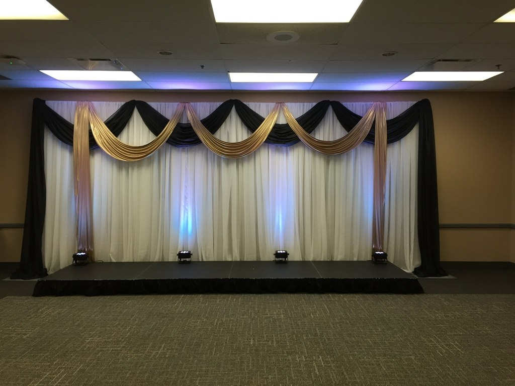 Black & Gold Valances Backdrop