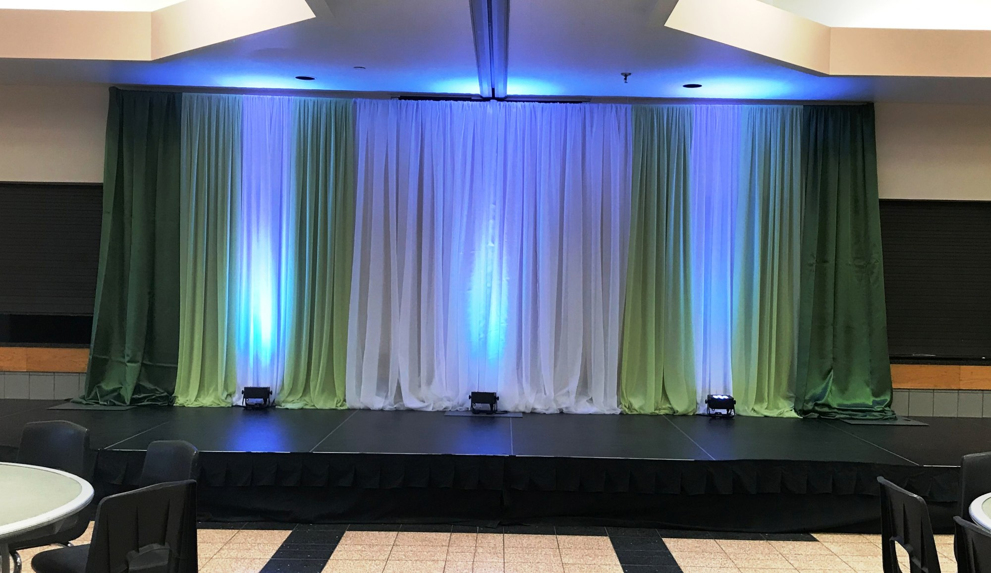 Corporate Backdrop in Whites & Greens