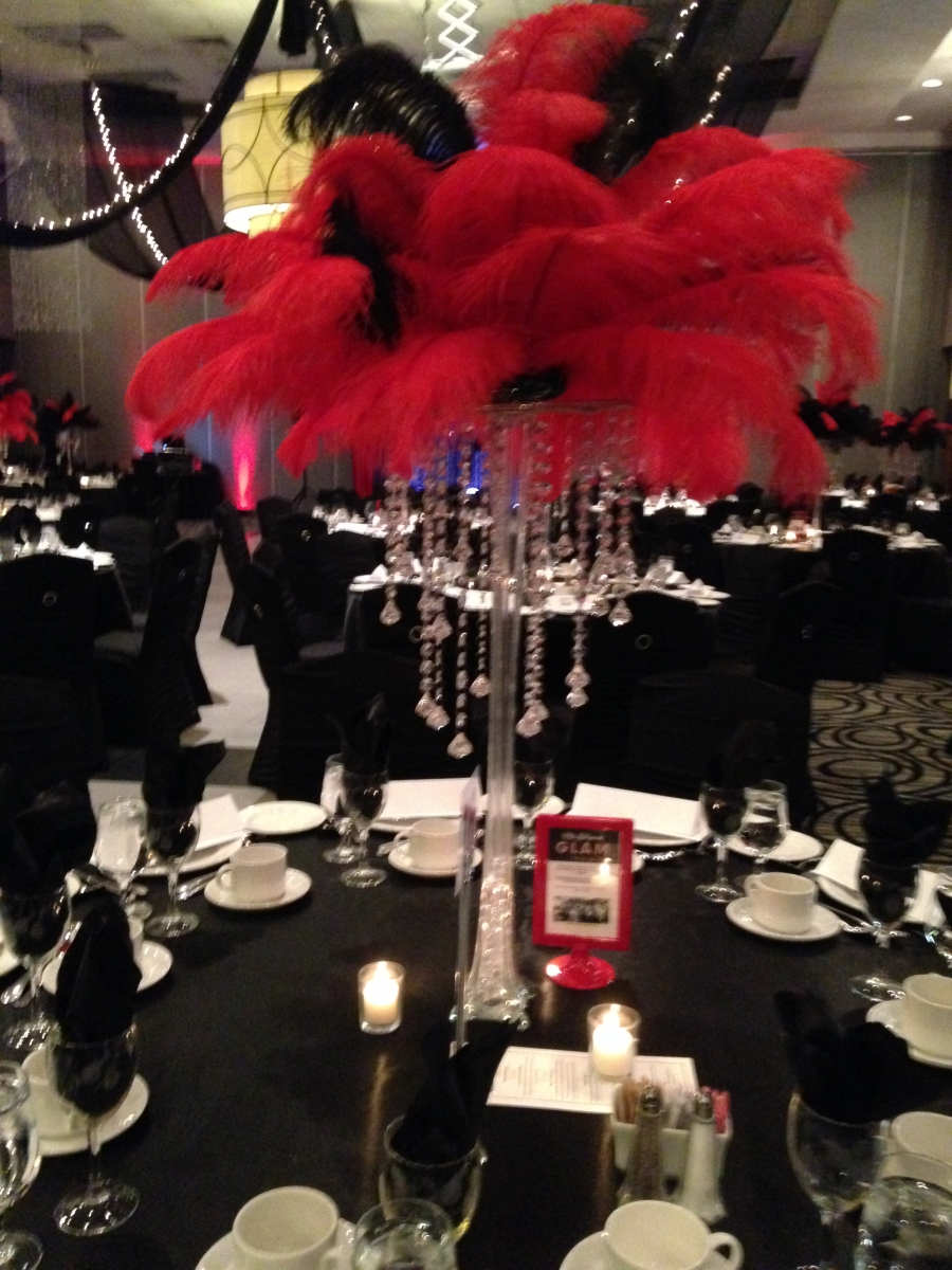 Red & Black Feather Toppers for Casino Theme Event