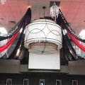 Black & Red Ceiling Swags with Mini Lights & Mini Chandeliers - Hollywood Theme