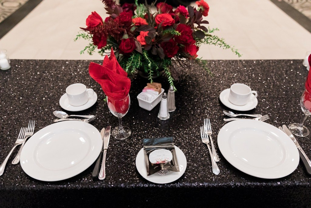 Black Sequin Linens for a Head Table