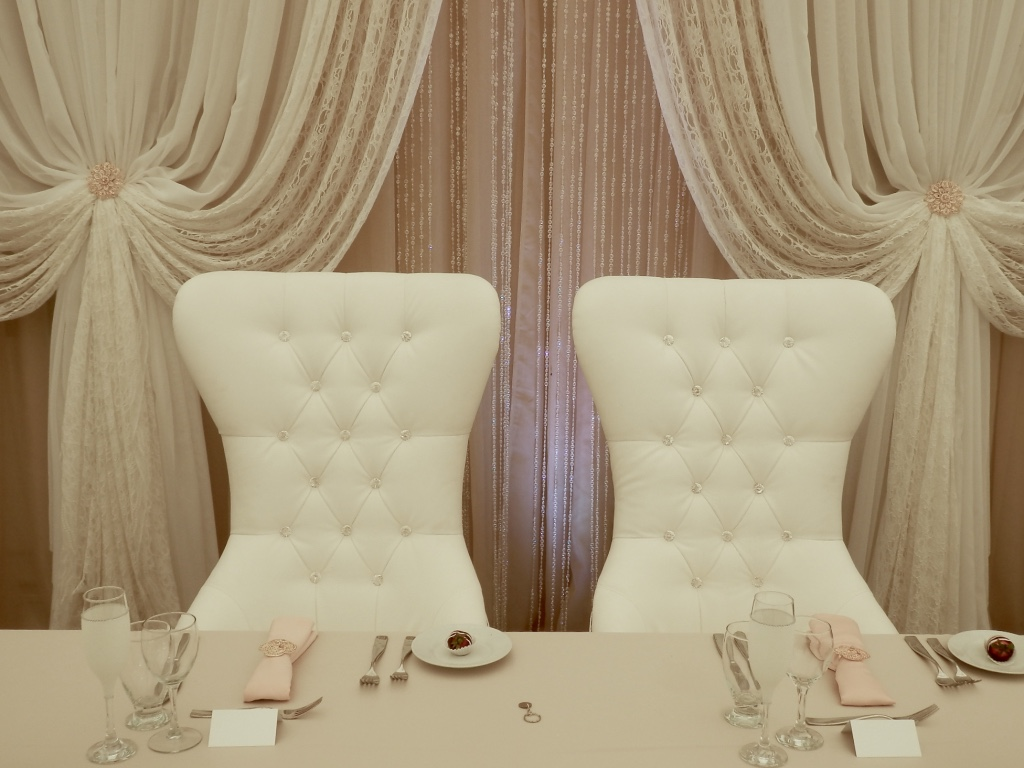 Bride & Groom Chairs with Rhinestones for your Head T
