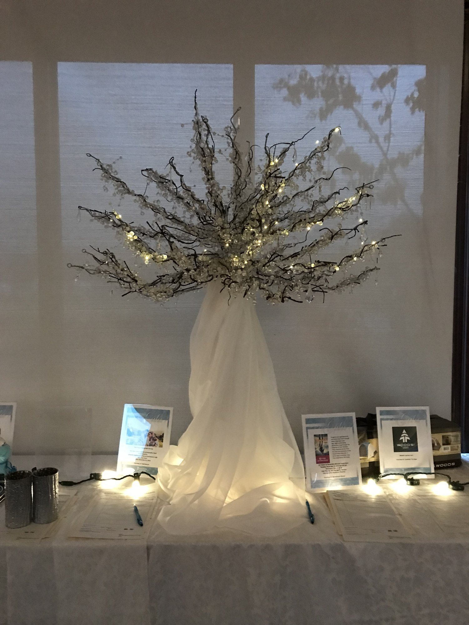Crystal Wishtrees with twinkle lights or uplights