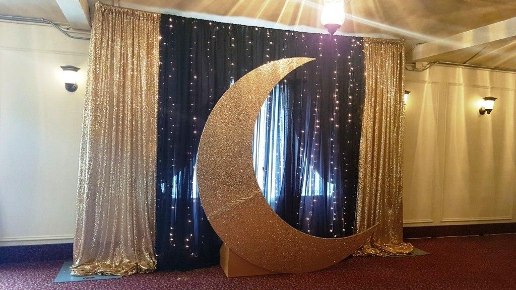 Gold Crescent Moon Backdrop