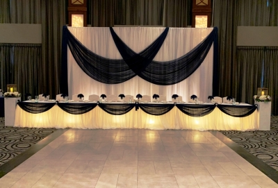 Pillowy Sheer with a Navy Chiffon Valance & Underlighting