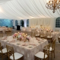 Vertical Drape Backdrop, Tent Liner, Venetian Gold Linens, Nestleton Waters Inn