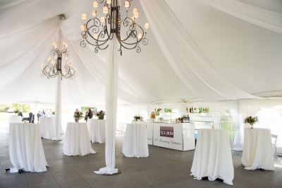 Tent Sheer Swagging with 6' Wrought Iron Chandeliers