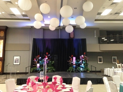 Tropical Theme Stage Decor with Paper Lanterns over Dance Floor