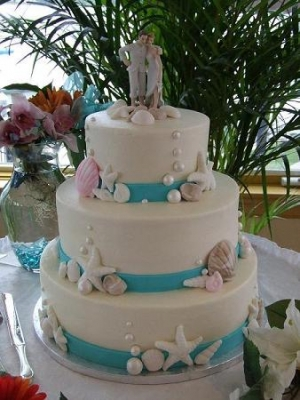 Custom Tropical Wedding Cake