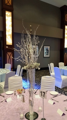 Winter Centerpiece with White Twigs & Lit Branches