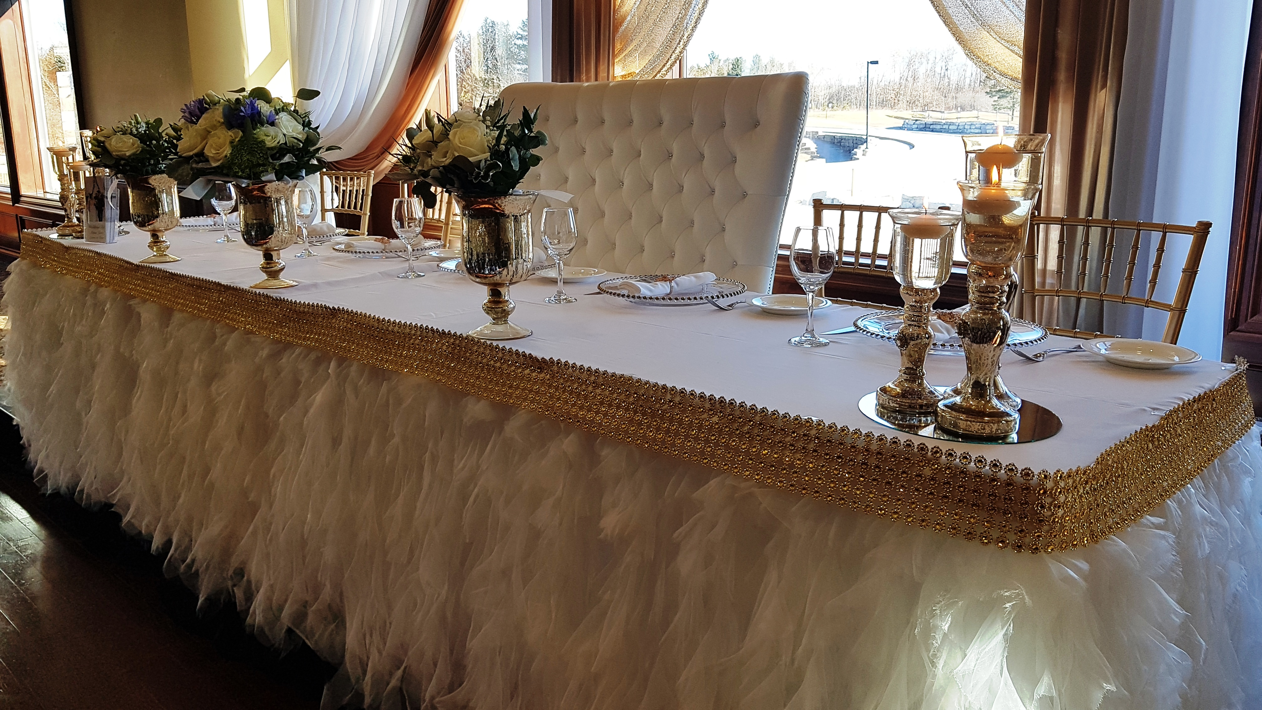 Ribbon Skirting With Gold Band Ht Decor 2 Annie Lane Events Decor