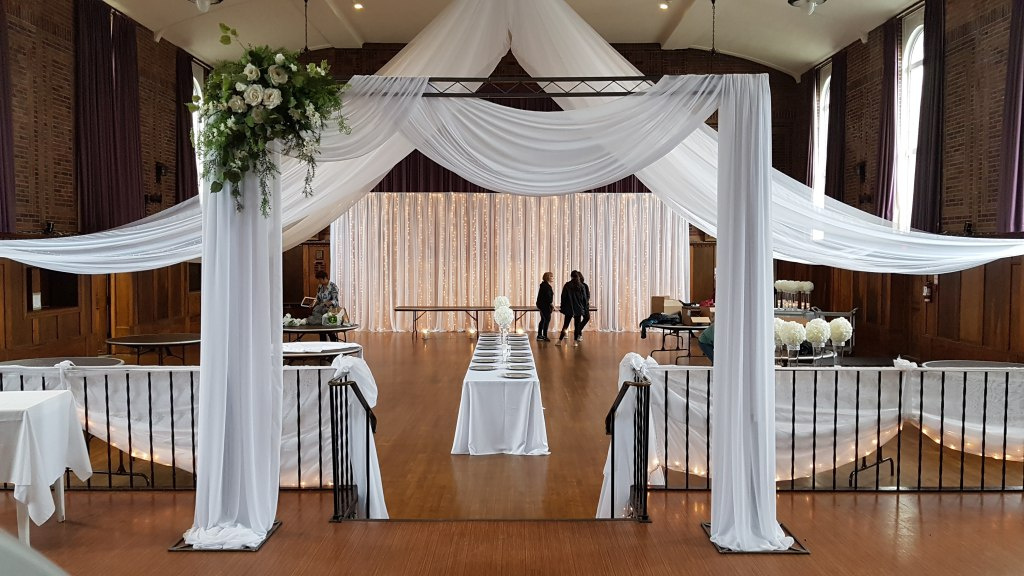 Silver Metal Arbour with Chiffon & Silk Floral