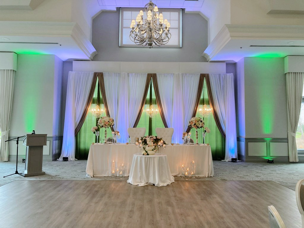 Vertical Drape Backdrop with Heritage Chandeliers in White, Gold and Willow Green
