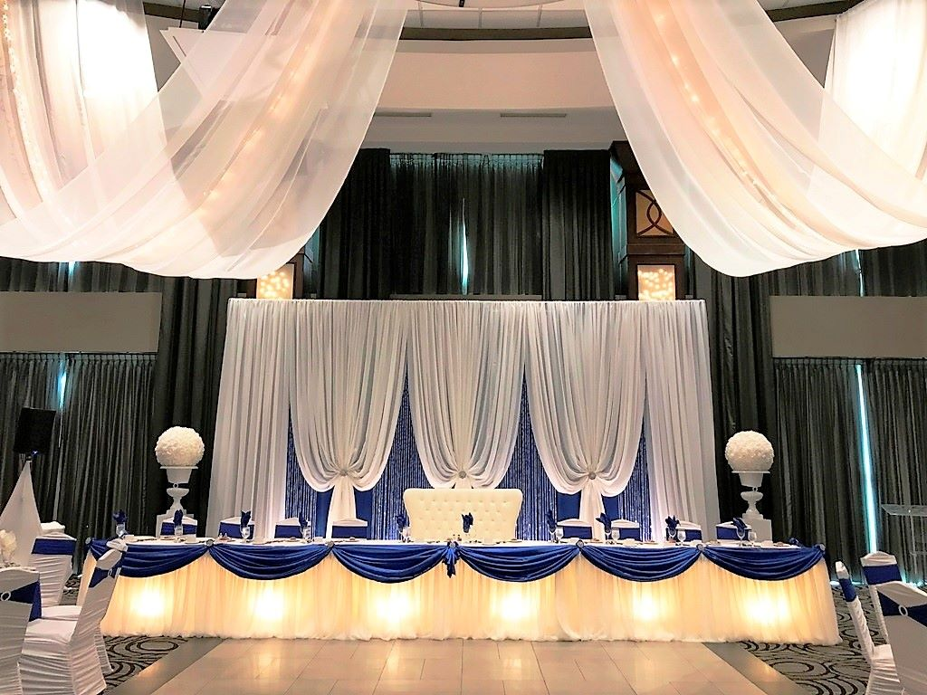 Ashley Backdrop Royal Blue & White with Crystal Curtains - Ceremony