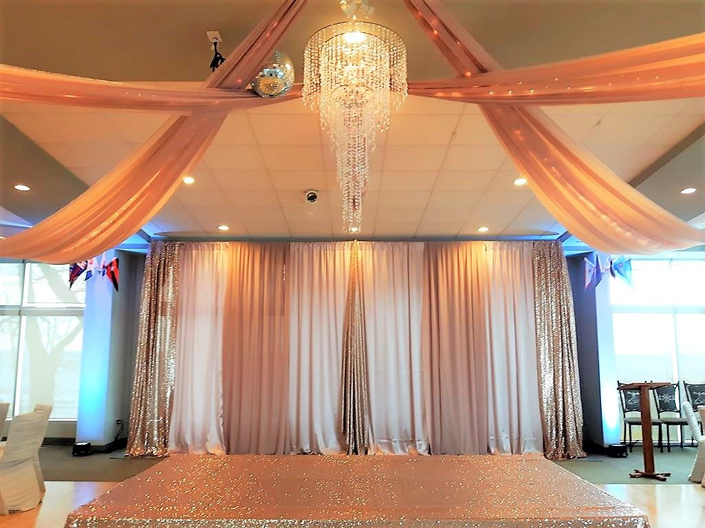 Multi Drape backdrop in Blush & Sequins