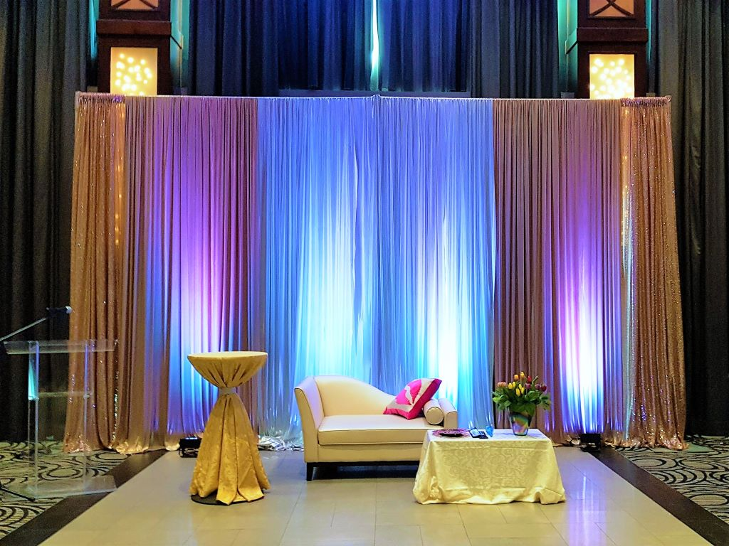 Multi Drape Backdrop Custom in White, Fuchsia & Sequins