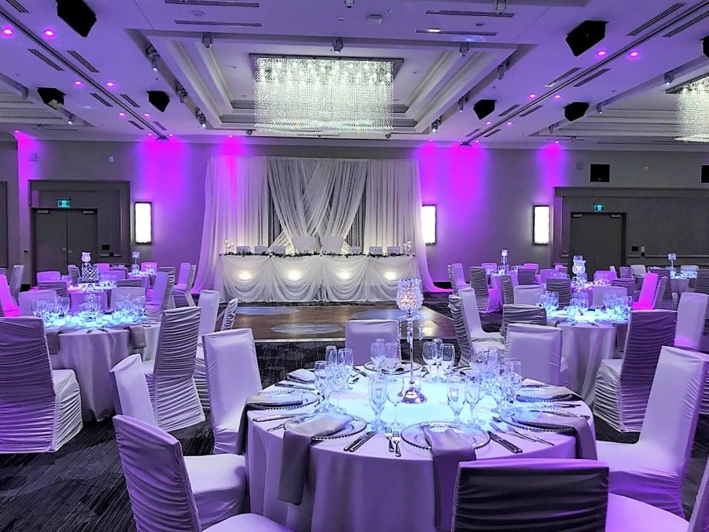 Reception Decor in White, Silver & Purple in the Marriot Ballroom, Oshawa