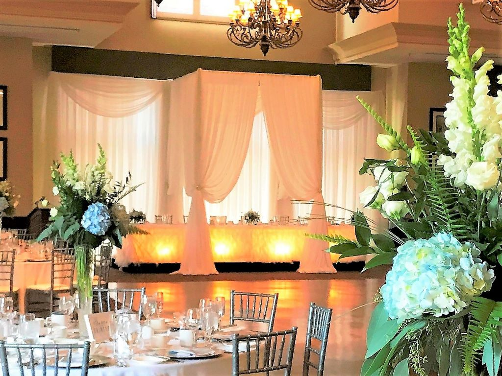 Head Tablescape - Trio Border Valance Backdrop with Canopy over Head Table