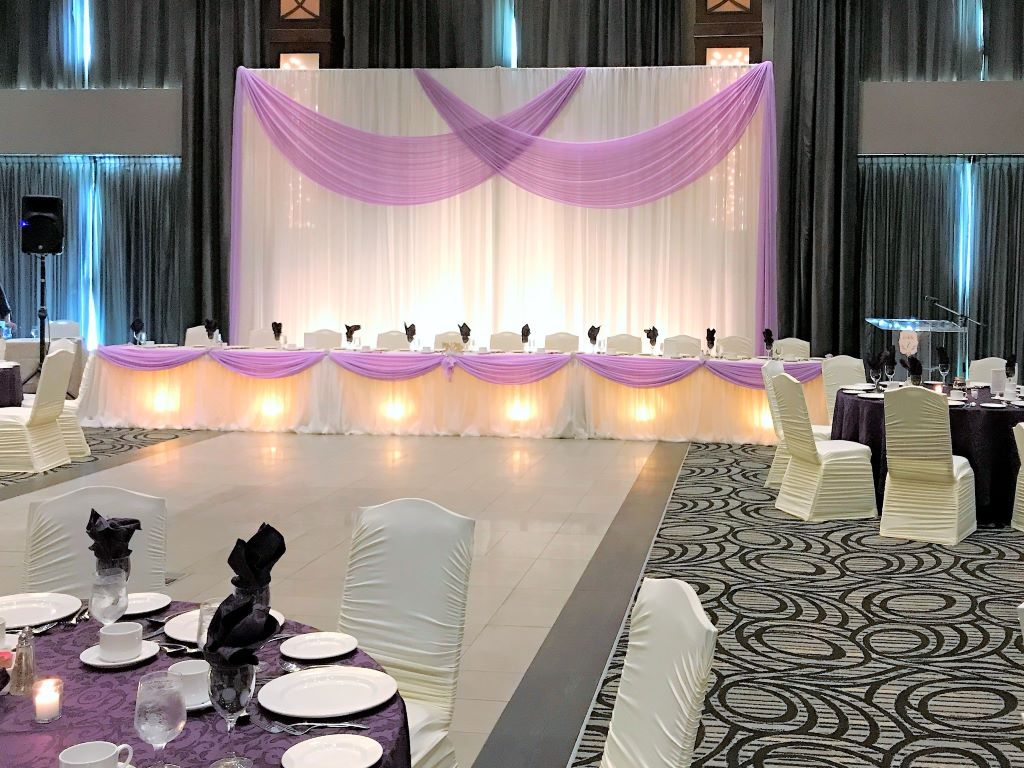 Reception Decor in White, Lavender & Royal Purple