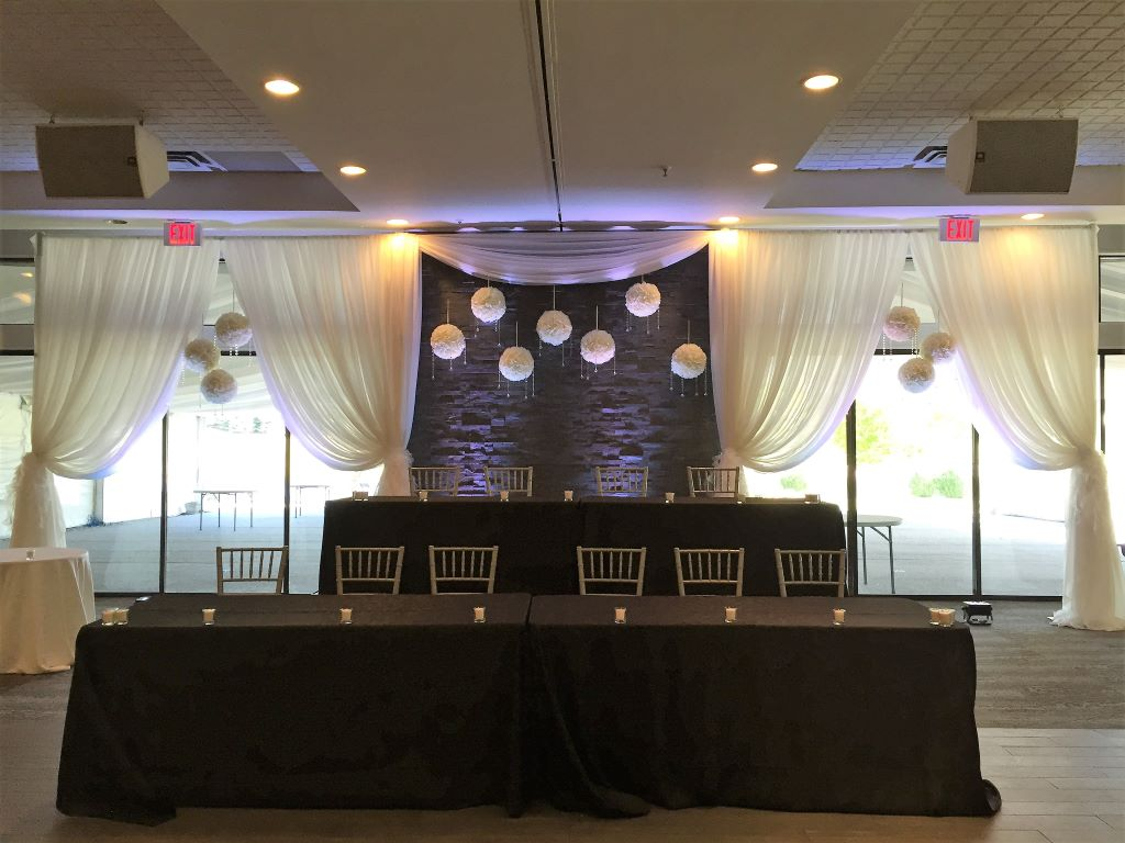 Custom 3-Panel Backdrop with Rose Balls, The Manor