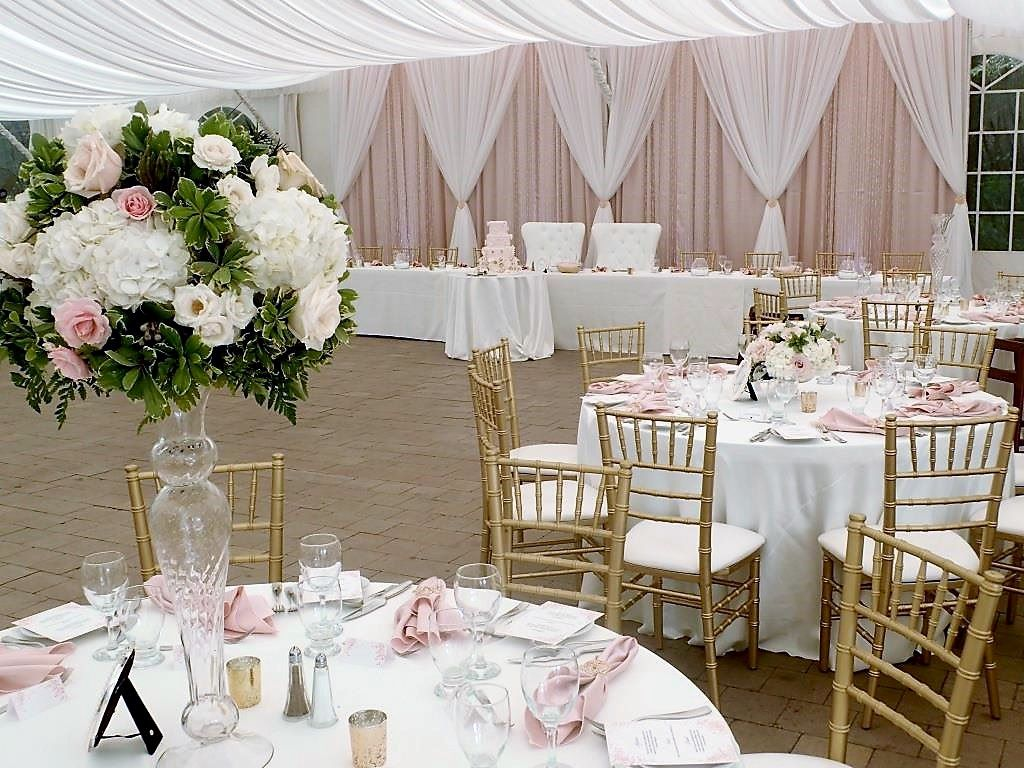 Diamond Style White & Blush Backdrop with Crystal Curtains