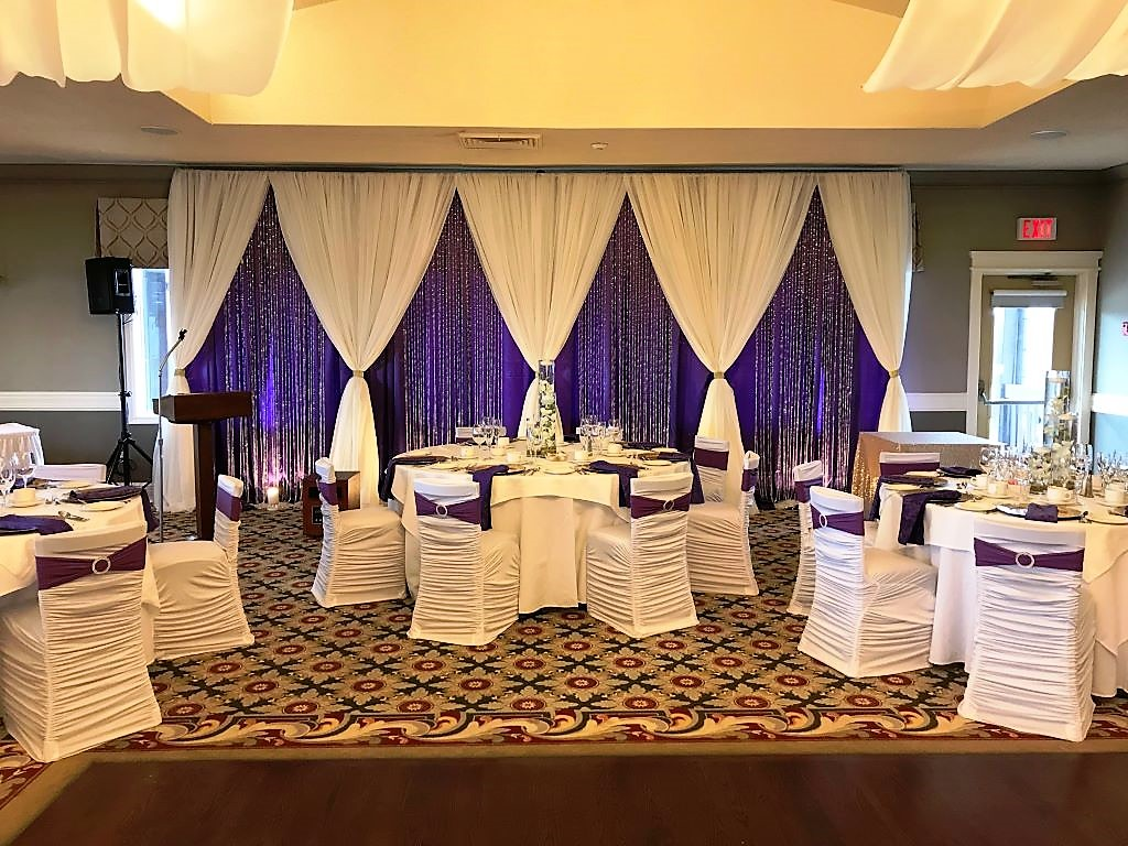 Diamond Style Backdrop in Royal Blue & White with Crystals