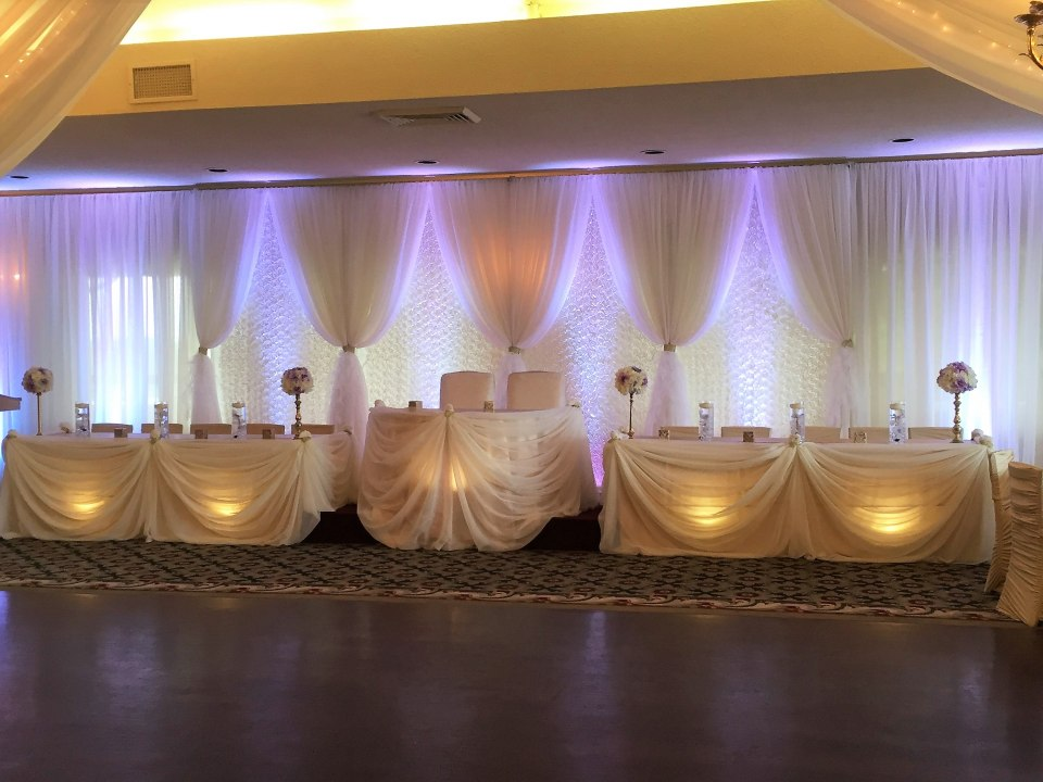 Rosette Panel Base Backdrop with Vertical Sheer Ivory Drapes