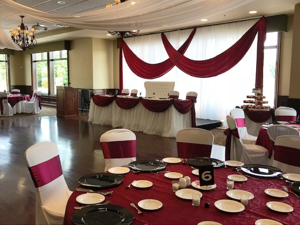 Simple Elegance Backdrop with Crimson Valances - Westney Hall Deer Creek