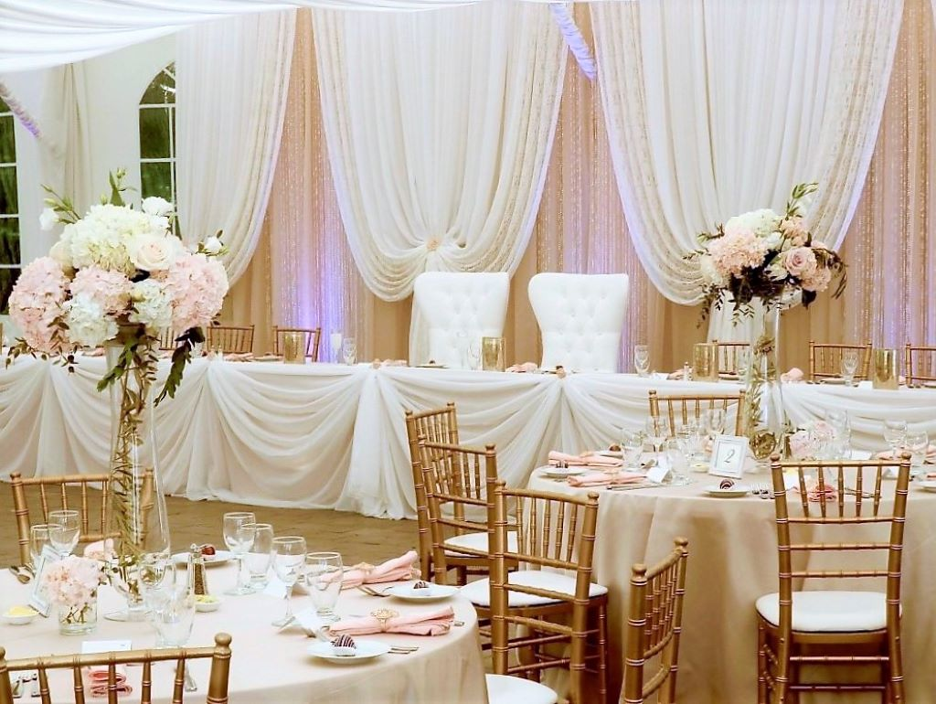 Vintage Inspired Backdrop in Ivory Lace, Blush Chiffon & Roses