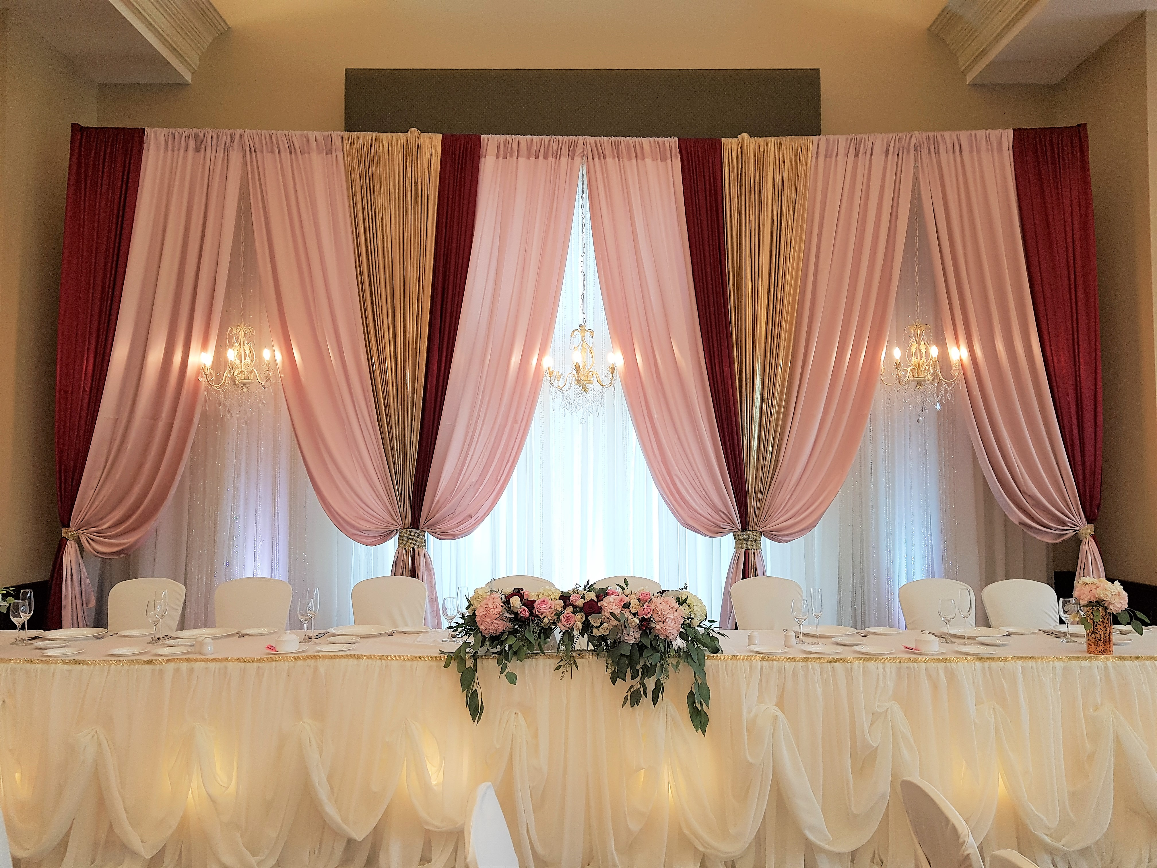 Custom Vertical Drape in Blush, Gold, Crimson with Chandeliers