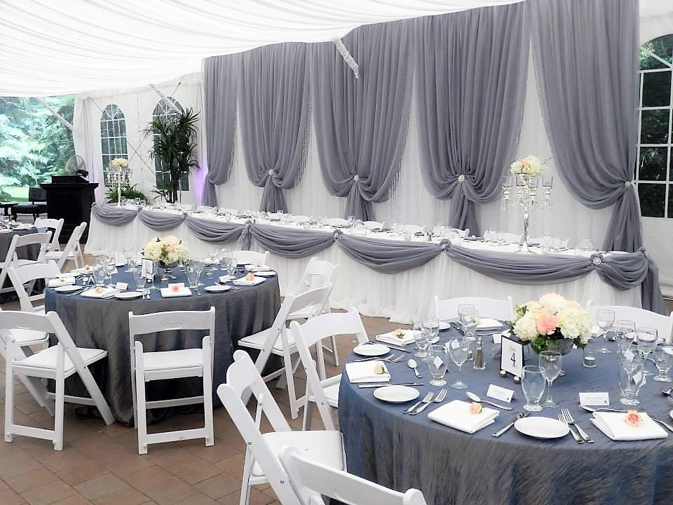 Vertical Drape Backdrop in White & Grey with Crystals