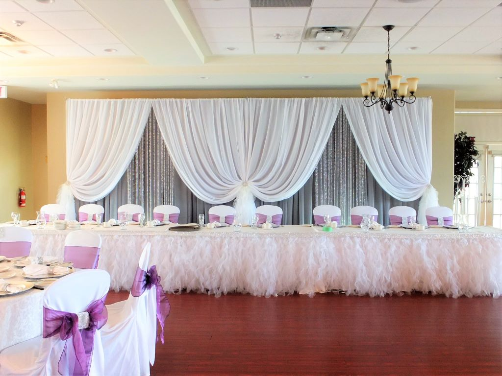 Vertical Drape Single in White & Grey with Crystals