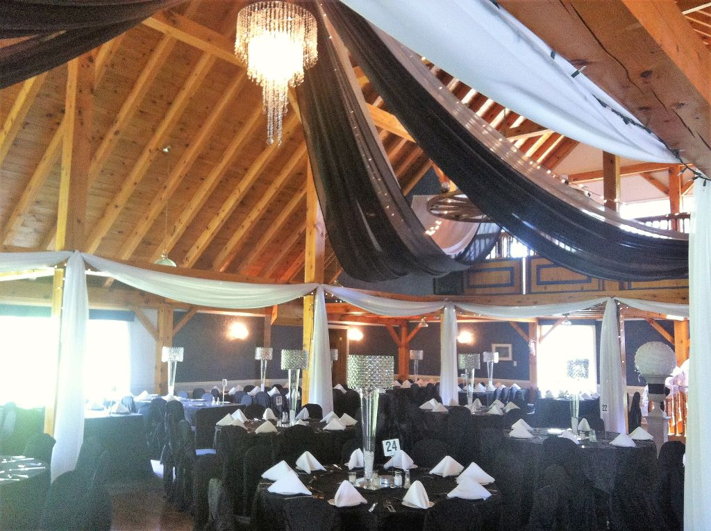 Barn Ceiling Decor with Swags and Crystal Chandelier