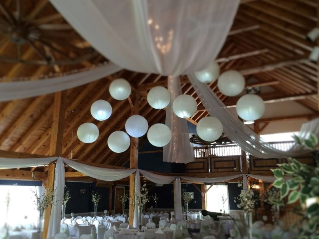 Paper Lanterns & Sheer Swags with Fairy Lights Barn Ceiling Decor