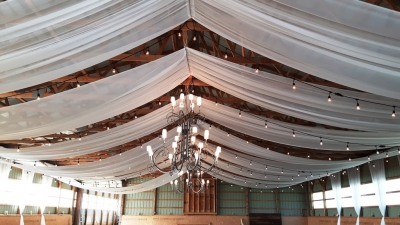 Barn Swags with 6' Wrought Iron Chandeliers