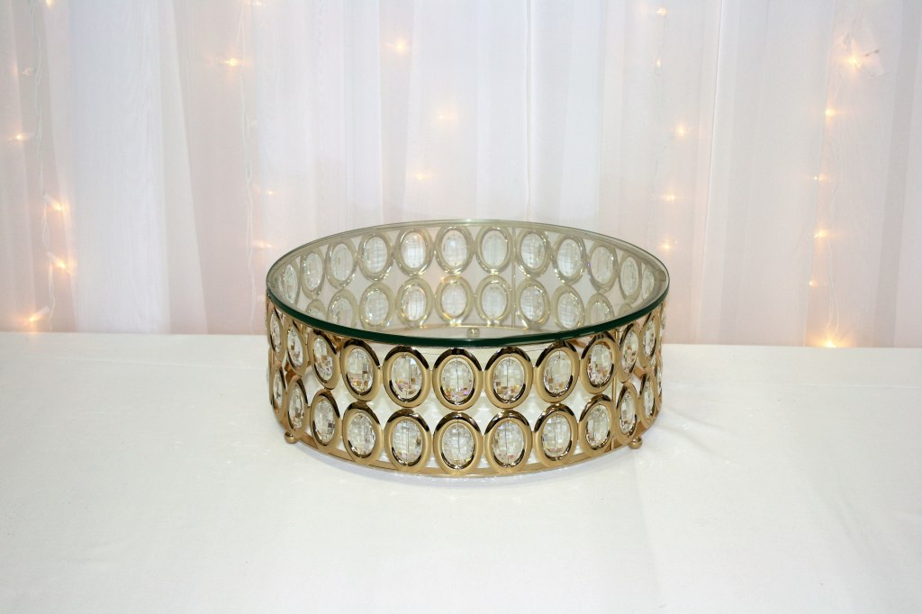 "Gold Crystal Bead Glass Cake Stand 16"" diameter"