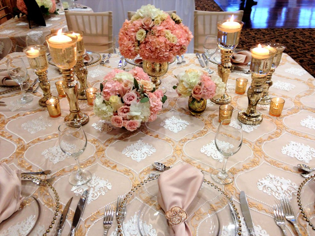 Gold Candlestick Trios added to Floral Centerpieces