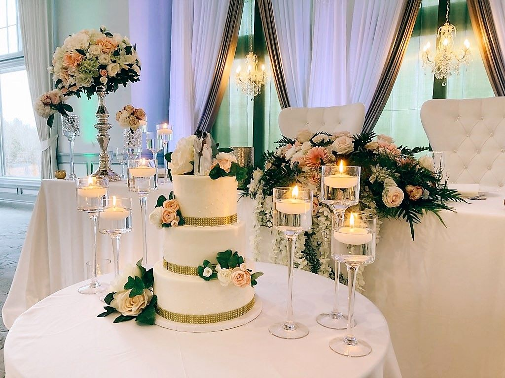 Stemmed Glass Candlestick Trios with Floating Candles for Cake Table & HT