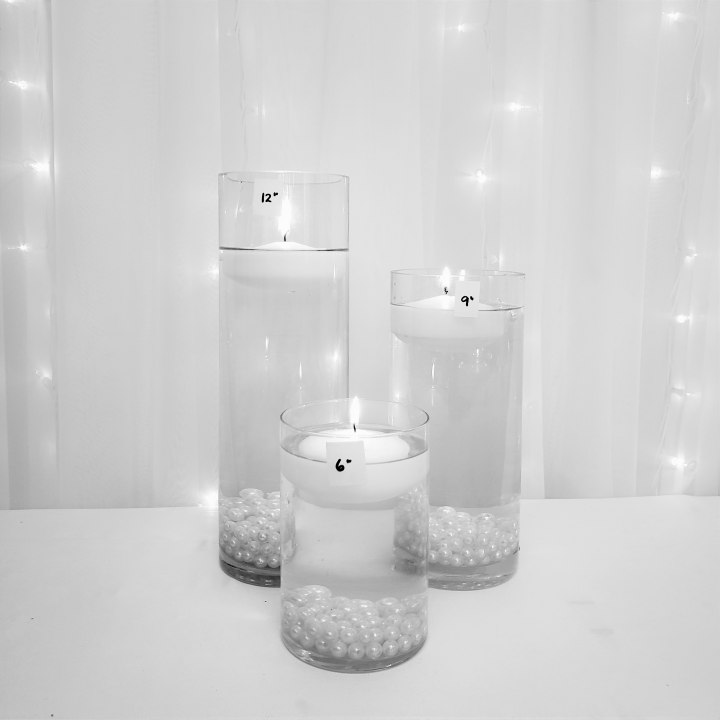 """Medium Cylinder Trio with Floating Candles 12"""", 9"""", 6"""" tall"""