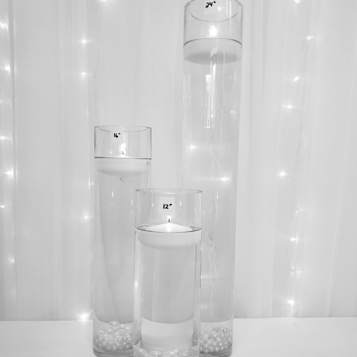 """Tall Cylinder Trio with Floating Candles 24"""", 16"""", 12"""" tall"""